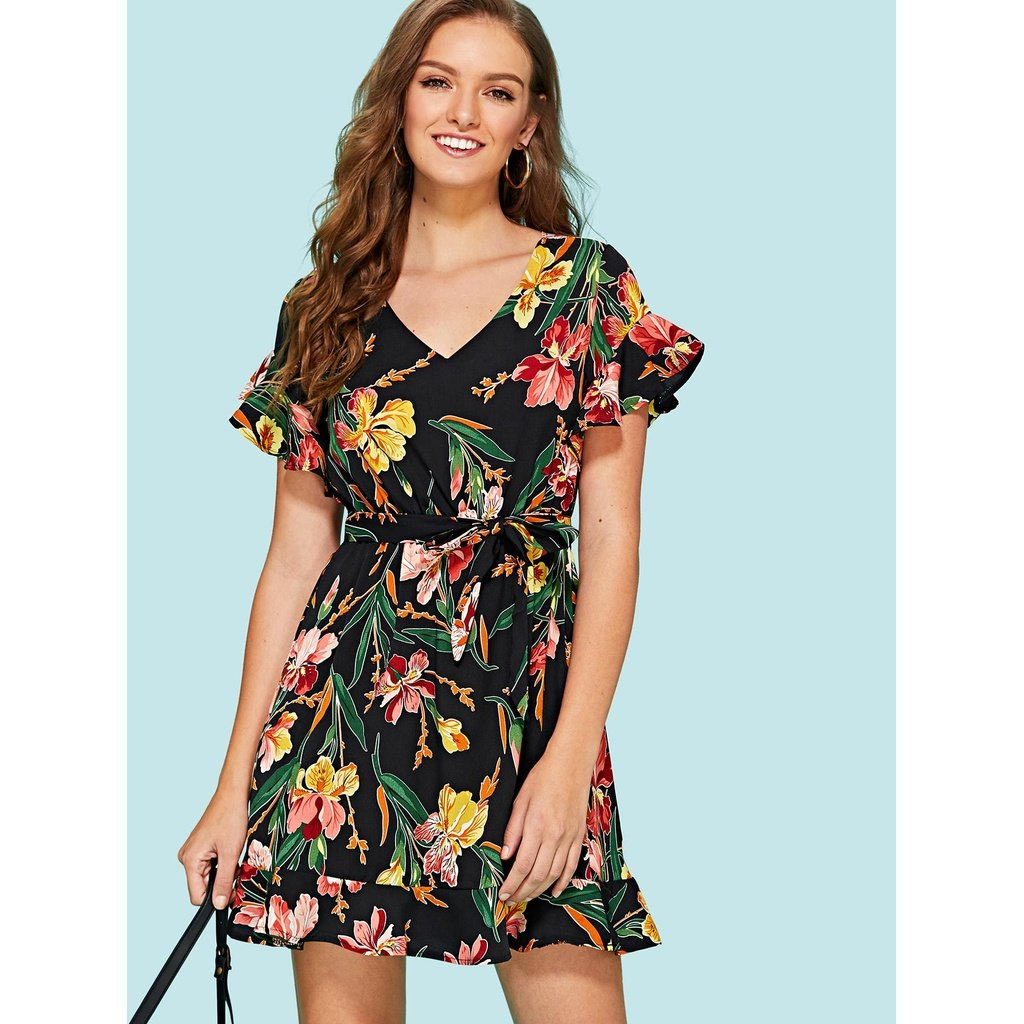 Floral print ruffle hem dress multi color in products