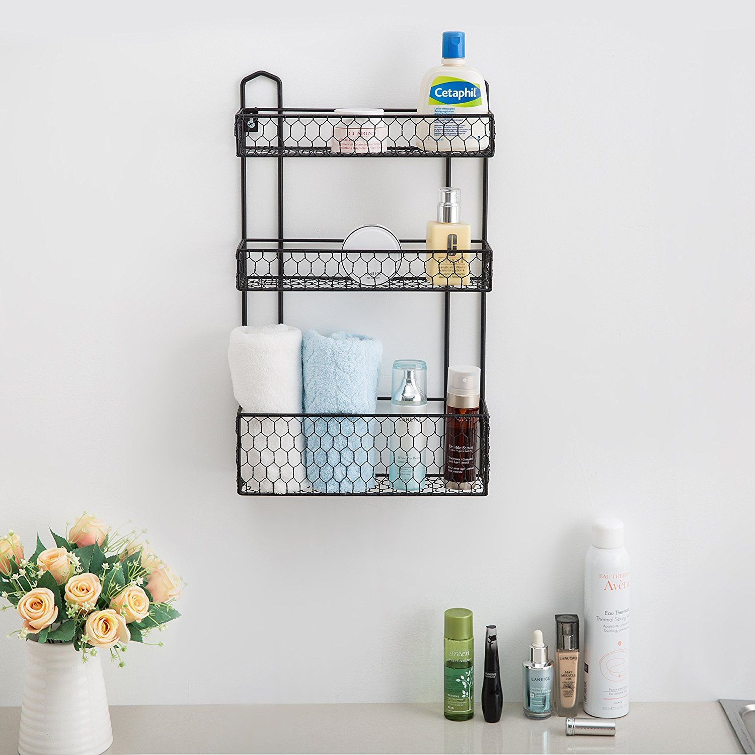Exceptionnel An Easy To Install, Rustic Chicken Wire Wall Hanging Bathroom Organizer  Shelf