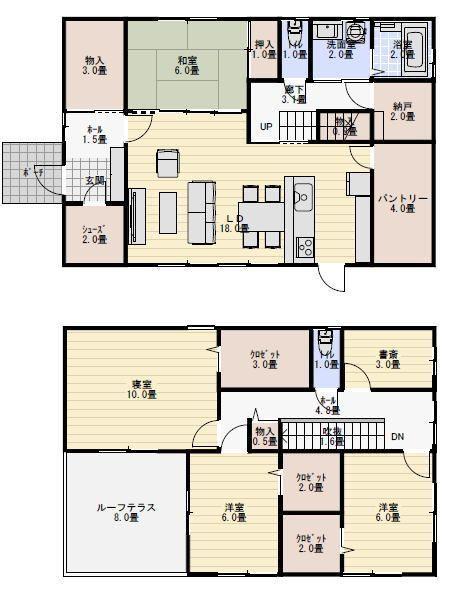44坪5ldk収納の多い間取り 新築間取り 間取り 40坪 間取り 東