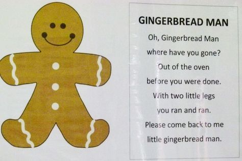 Gingerbread Man Poem For Poetry Center  Add Clip Art Of