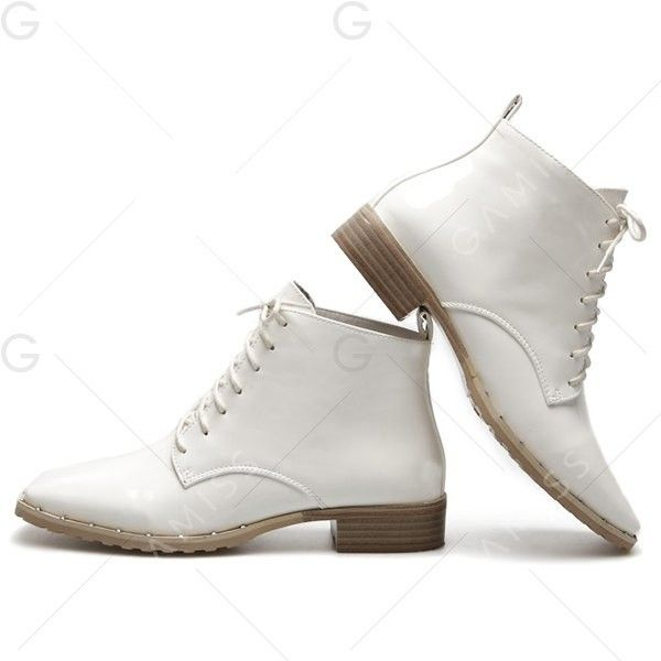 cheap price buy discount Lace Up Square Toe Patent Leather Ankle Boots - White 38 100% guaranteed cheap price H7JN1Hn