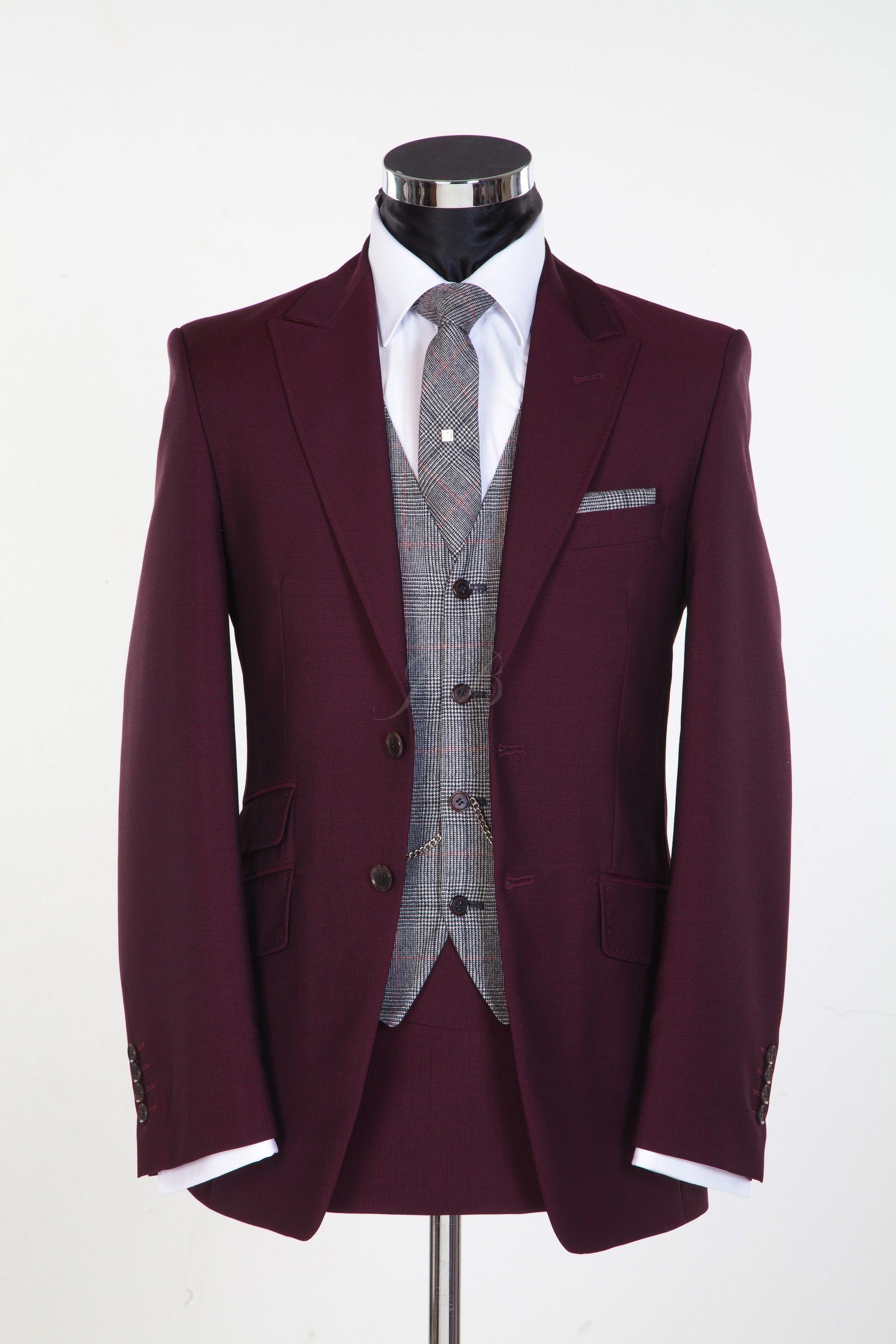 burgundy vintage style wedding suit in 2019 Burgundy