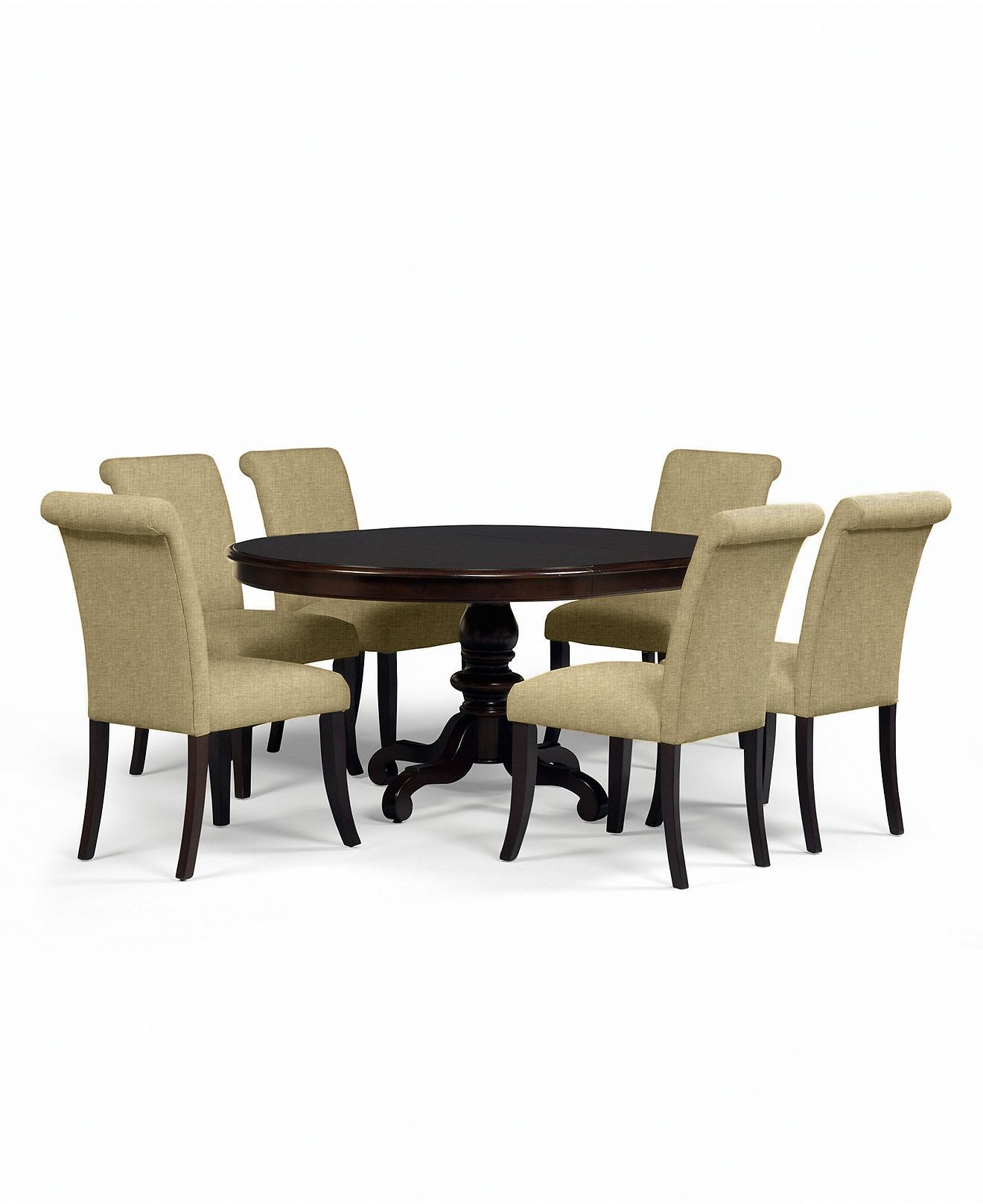bradford dining room furniture, 7 piece dining set (round table