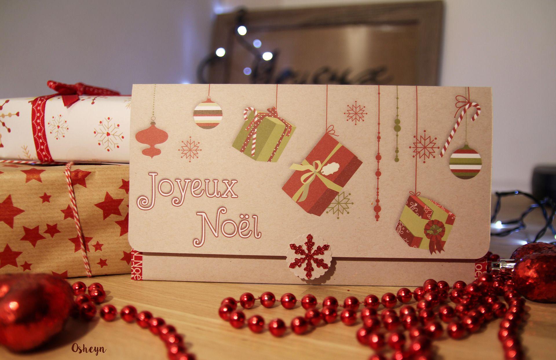 Carte Noël   Enveloppe pour chèque / Billet / bon achat / chèque