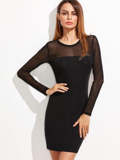 ac39ff2d18 Vestido ajustado con aplicación de malla - negro