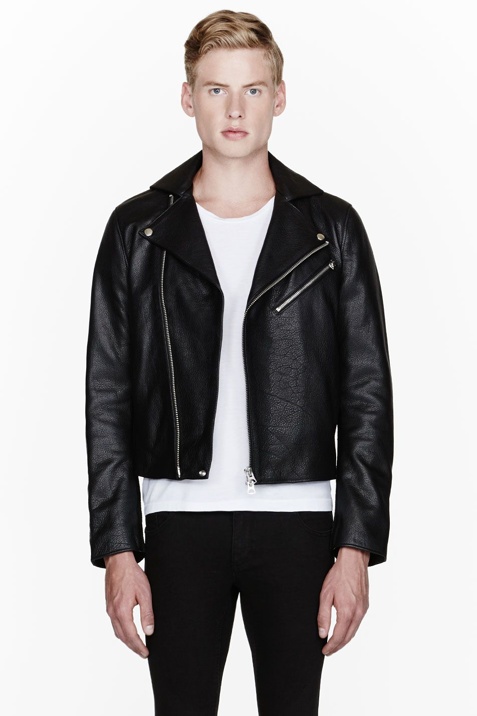 ACNE STUDIOS    Black full grain leather and suede Gibson jacket  32129M030001 Long sleeve full grain leather jacket in black. Notched lapel  collar with ... acaf6e2529a