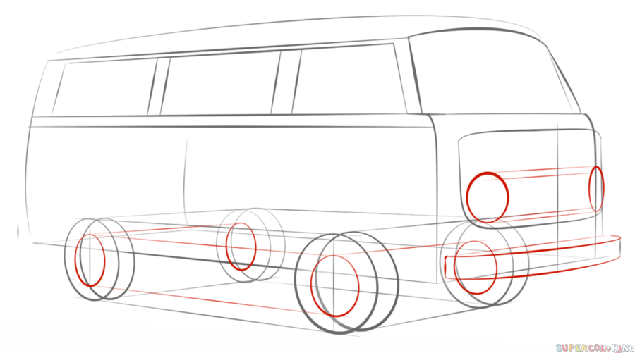 How to draw a VW bus | Step by step Drawing tutorials | How To Draw ...