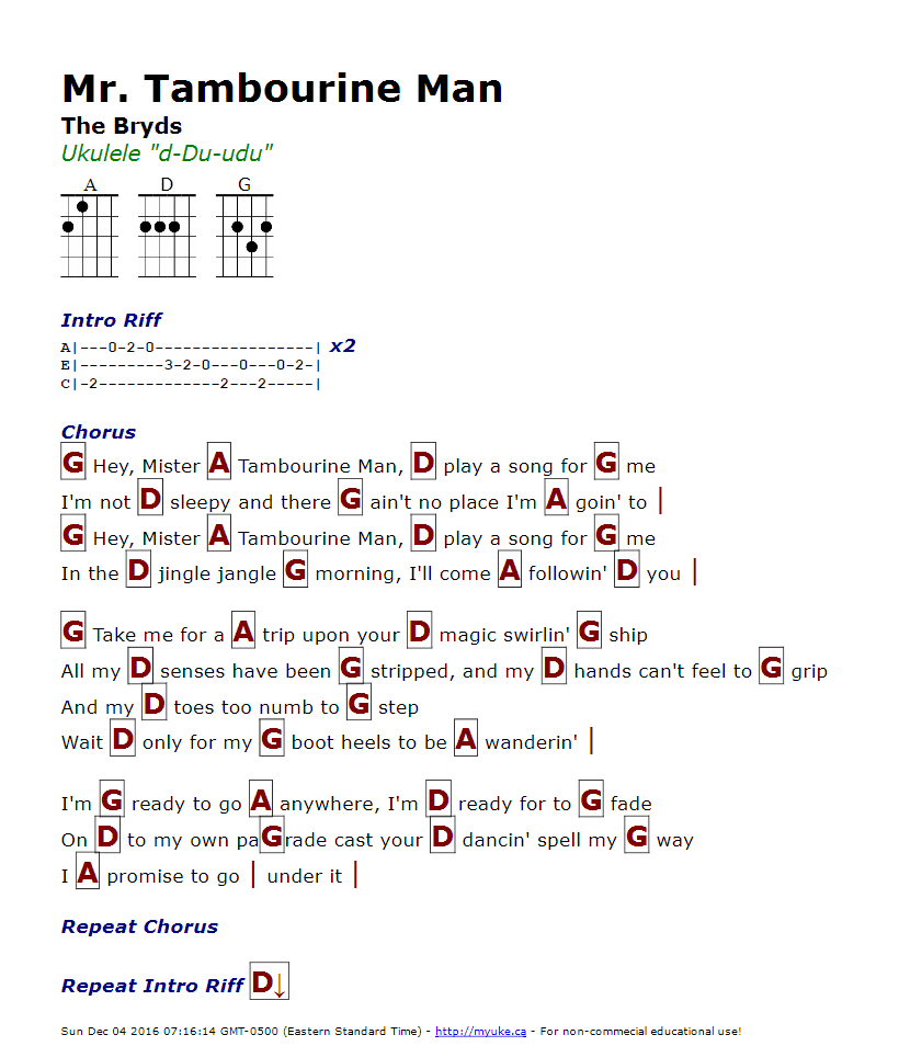Mr. Tambourine Man (The Byrds) - http://myuke.ca | Driver Picks the ...