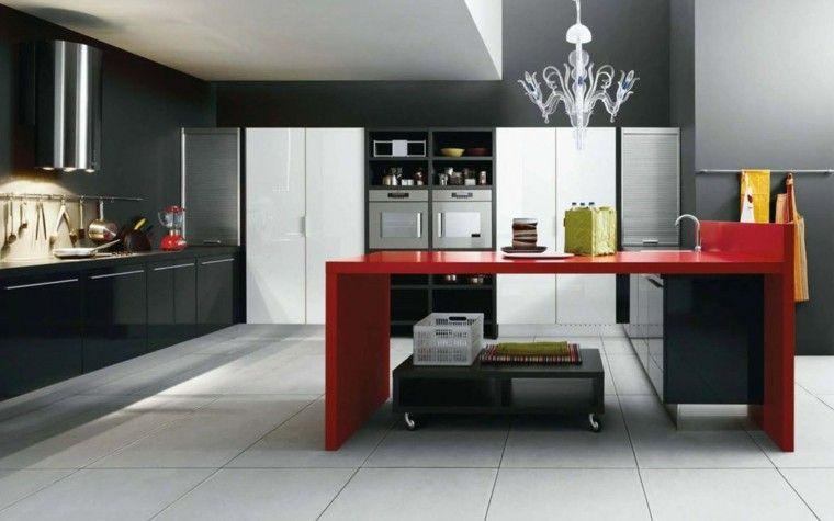 Cocinas modernas con isla: 100 ideas impresionantes | Muebles negros ...