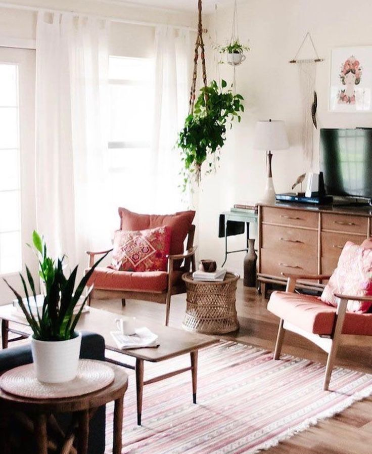Vintage Style Minimalist Living Room Space With Retro Mid Century  Furnishings And Indoor Plants