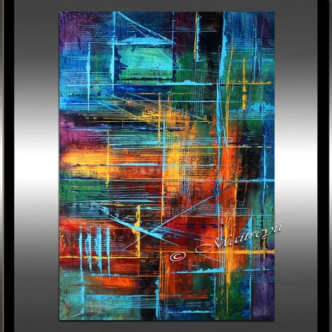 Peinture lhuile moderne grand abstract art rouge par - Pinturas acrilicas modernas ...