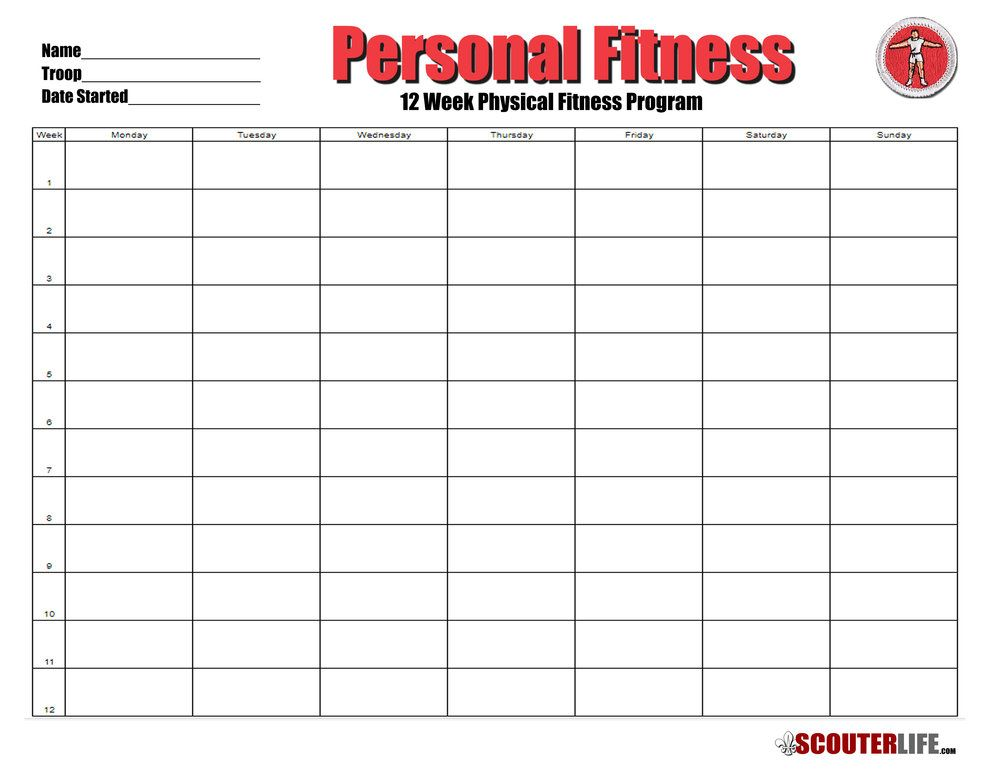 12 Week Physical Fitness Program Scouterlife Physical Fitness Program Workout Programs Physical Fitness