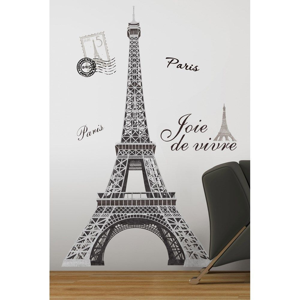 Black Amp Silver Giant Eiffel Tower Wall Decals Big Mural Stickers Paris Decor In Home Amp G Paris Themed Bedroom Eiffel Tower Wall Decal Paris Themed Room