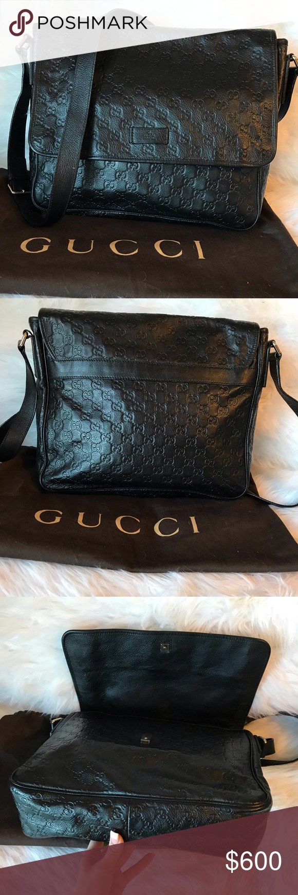 4812909b5541 Black Leather · Stylish · Authentic Gucci Guccissima Messenger Bag  Authentic Gucci Messenger Bag. This stylish messenger bag is finely
