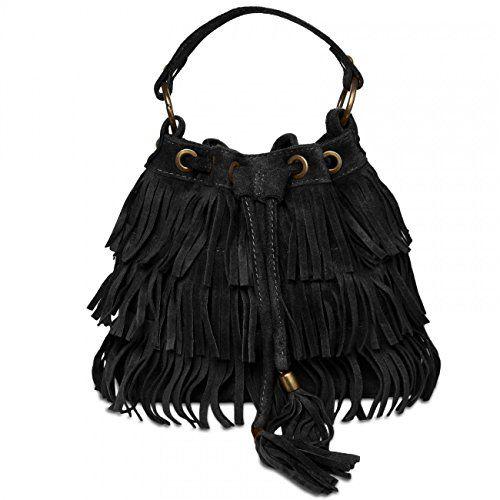 CASPAR TL677 Damen Wildleder Tasche, Farbe:schwarz