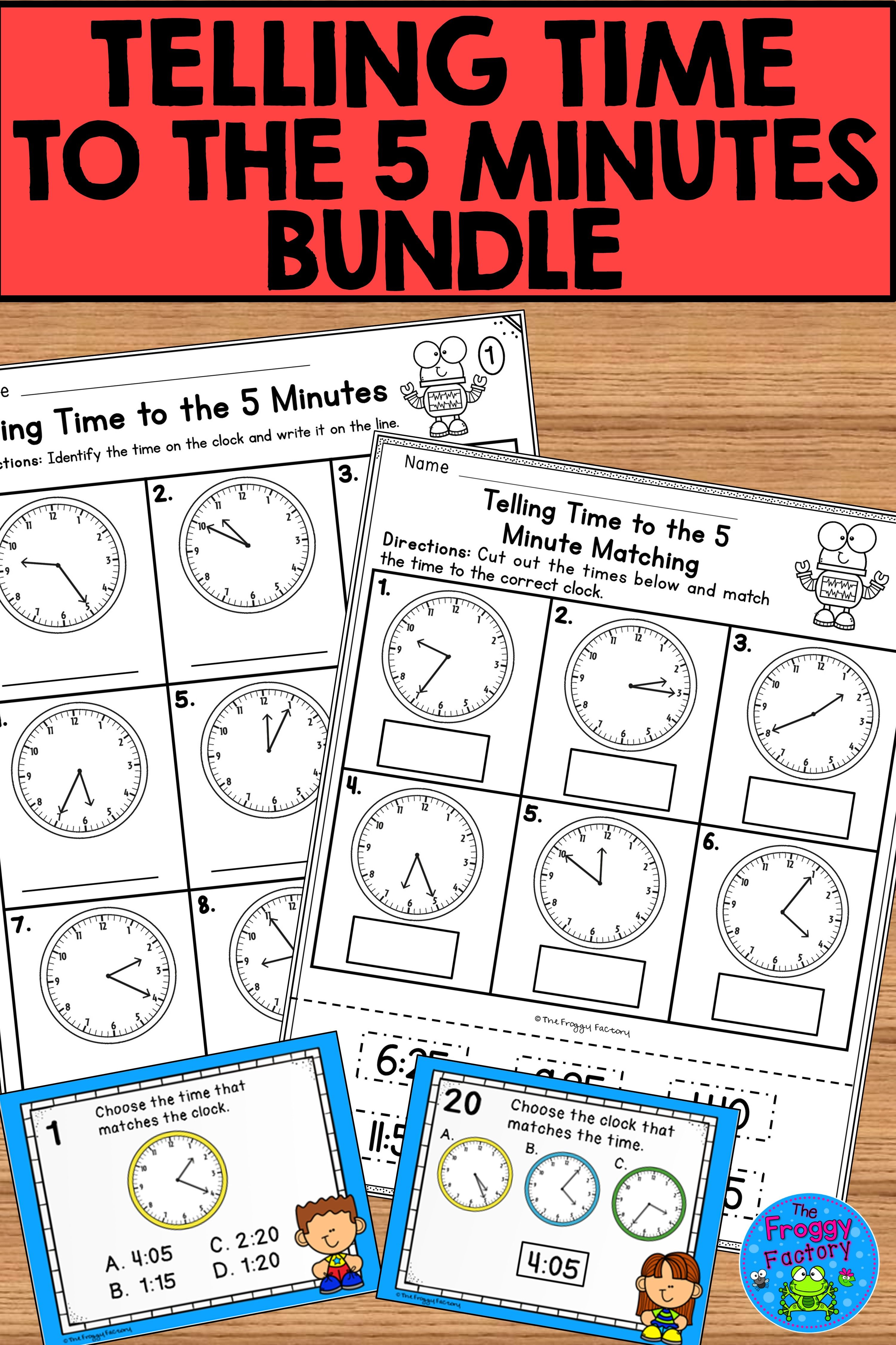 Telling Time To The 5 Minutes Bundle In