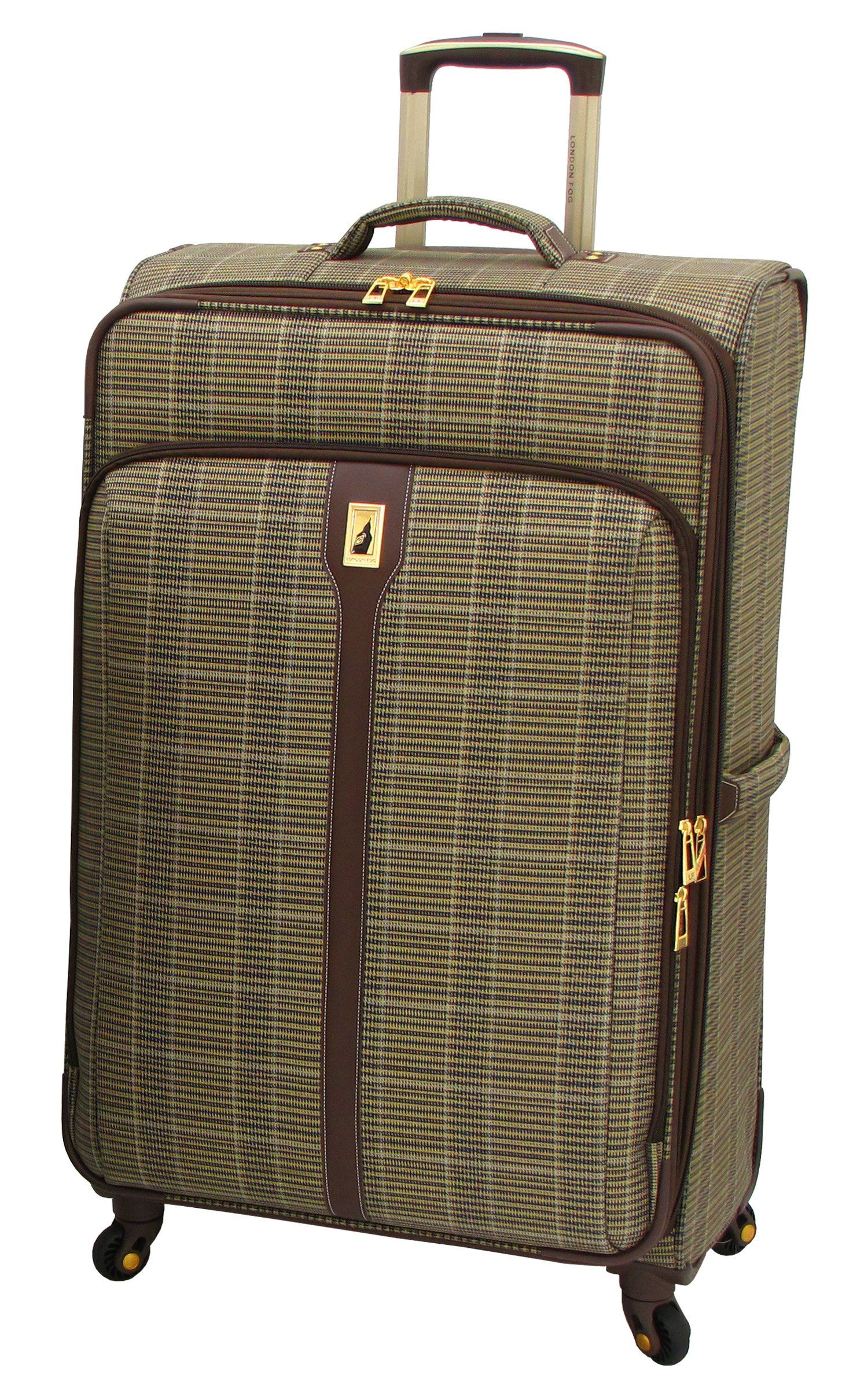 London Fog Westminster Ultra-Light 360 Degree 4-Wheel 29 Inch Expandable Spinner Upright, Camel Plaid, One Size
