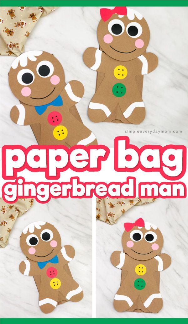 This brown paper bag gingerbread man puppet is a fun craft idea for kids in preschool, kindergarten