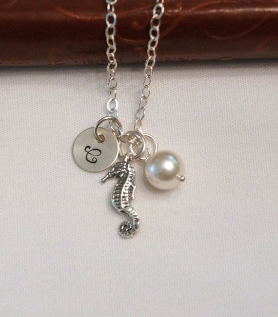 Sterling Silver Birthstone Necklace Beach Wedding by PoetryBridal (MOH gift)