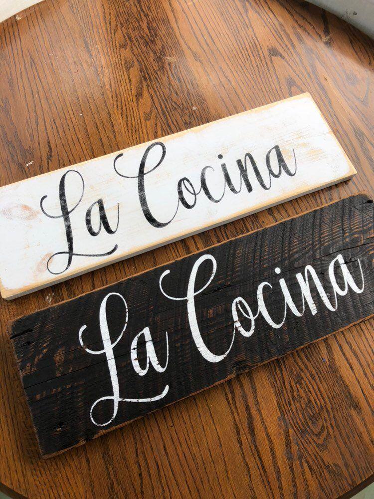 La Cocina Sign Spanish Sign Kitchen Sign Wood Sign Rustic Sign