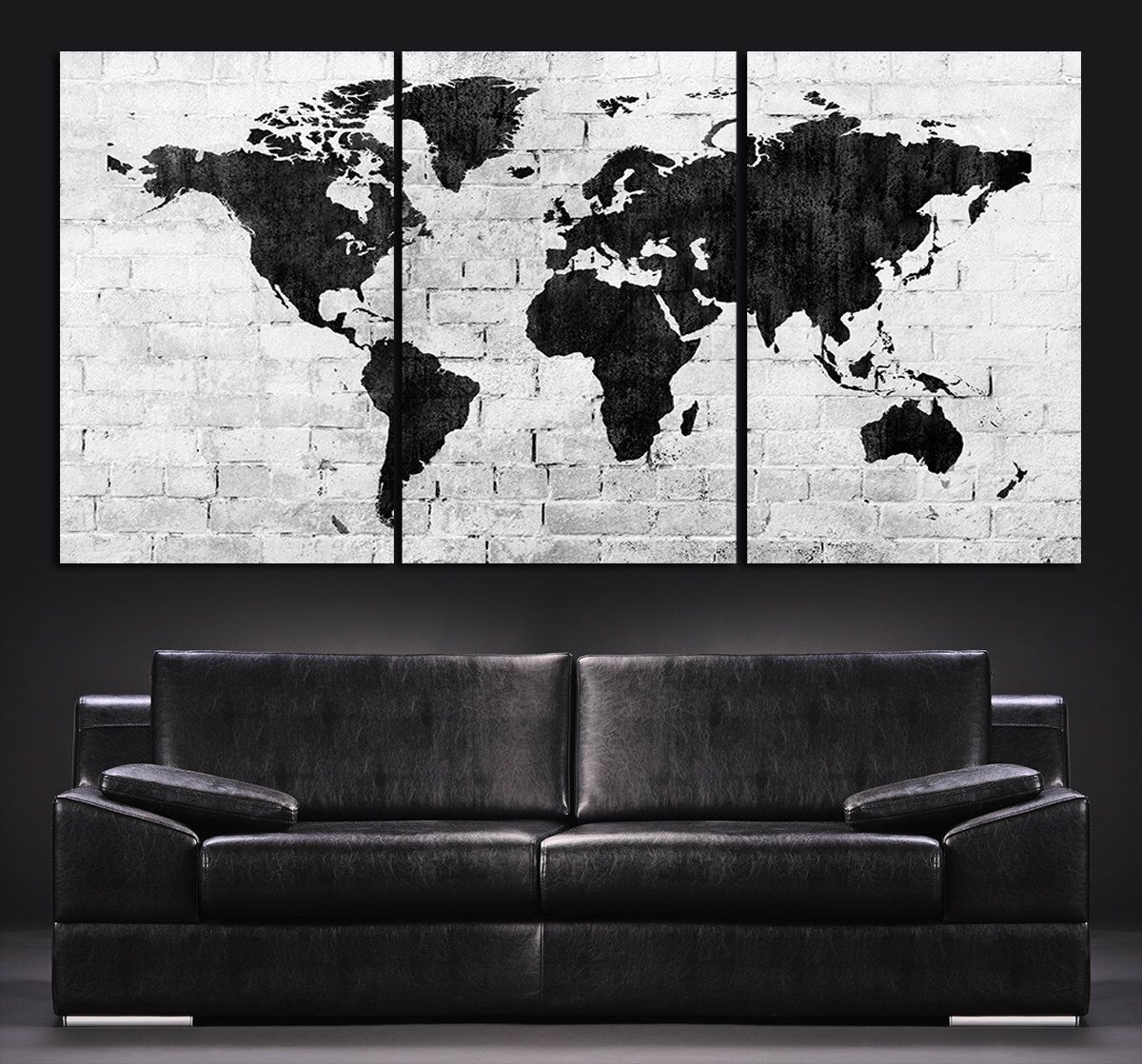World map canvas etsy best of wall arts map wall art etsy wood us large wall art world map canvas print contemporary 3 panel triptych black and white large wall gumiabroncs Image collections