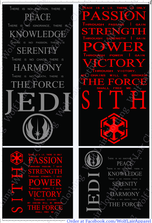 Jedi / Sith Code Canvases, Hand made by Wolf Lair Clothing. order at www.Facebook.com/WolfLairApparel