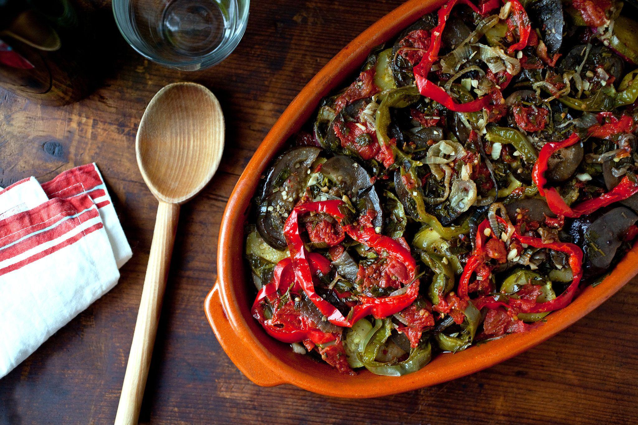 Greek Baked Vegetables Briam Recipe Recipe Baked Vegetables Briam Recipes Vegetable Recipes