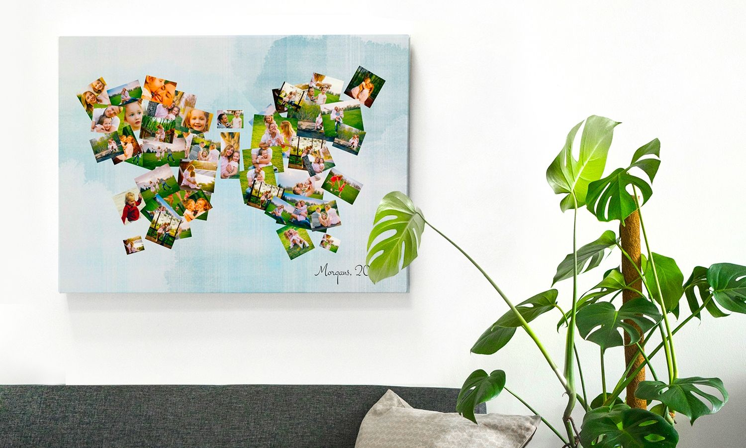 Create a photo montage collage with all your favorite photos to freshen up your home decor. Click to create yours and spruce up your home style today!  #homestyle #homedecor #wallart #photomontage #canvasprints #photoprints #memorykeeping #myhome