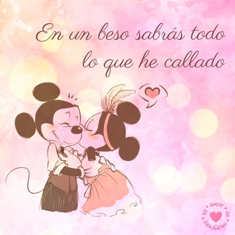 imagen chida de mickey y minnie de amor  Spanish quotes and Amor