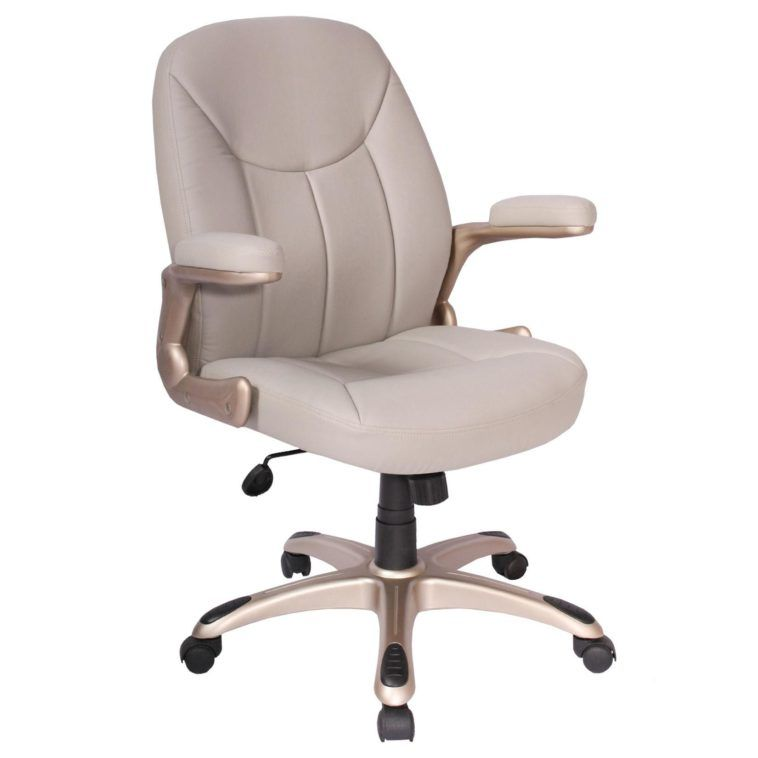 Beige leather adjustable height swivel office desk chair