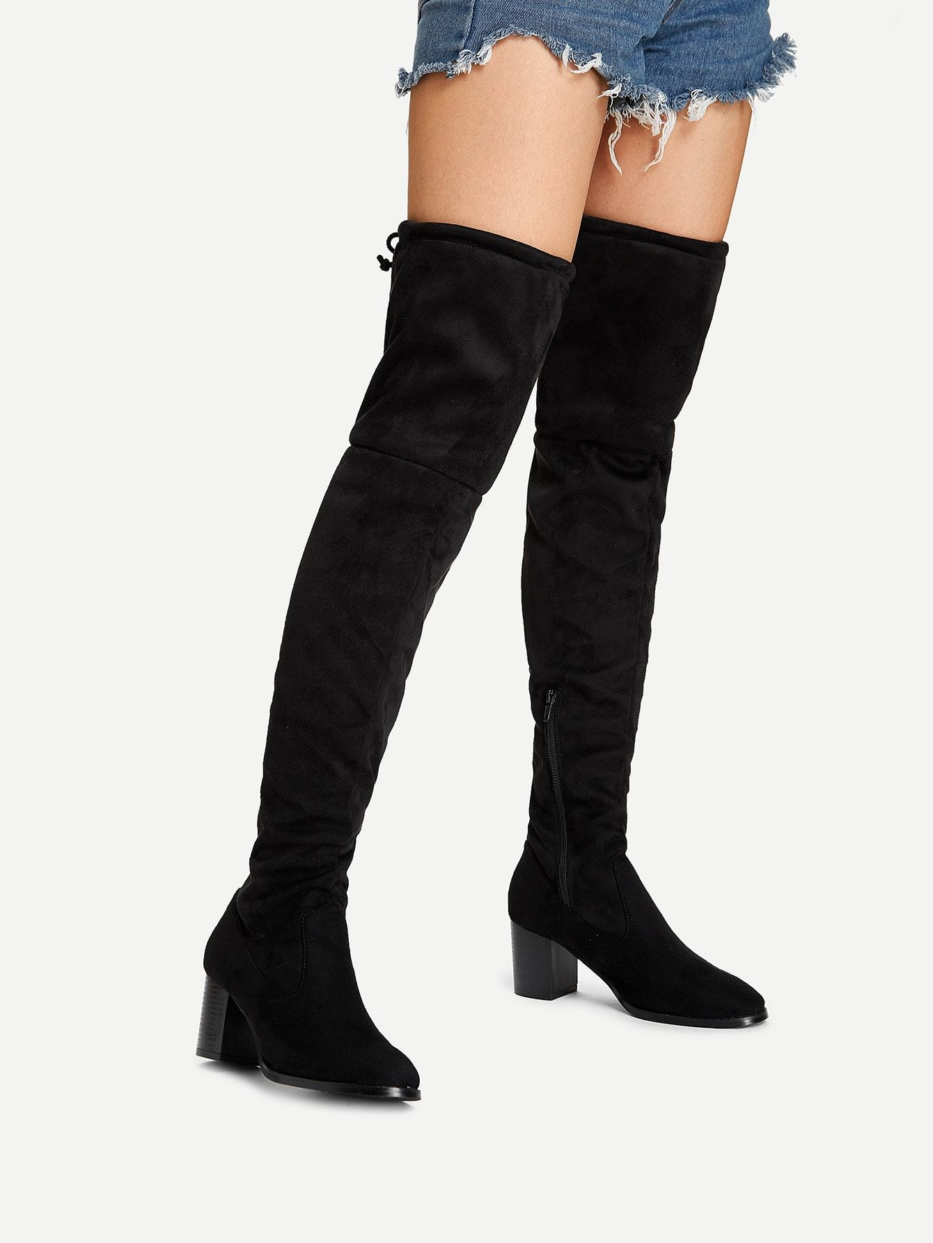 c7060ecc866 Casual Almond Toe OTK/Thigh High No zipper Black Chunky Over The ...