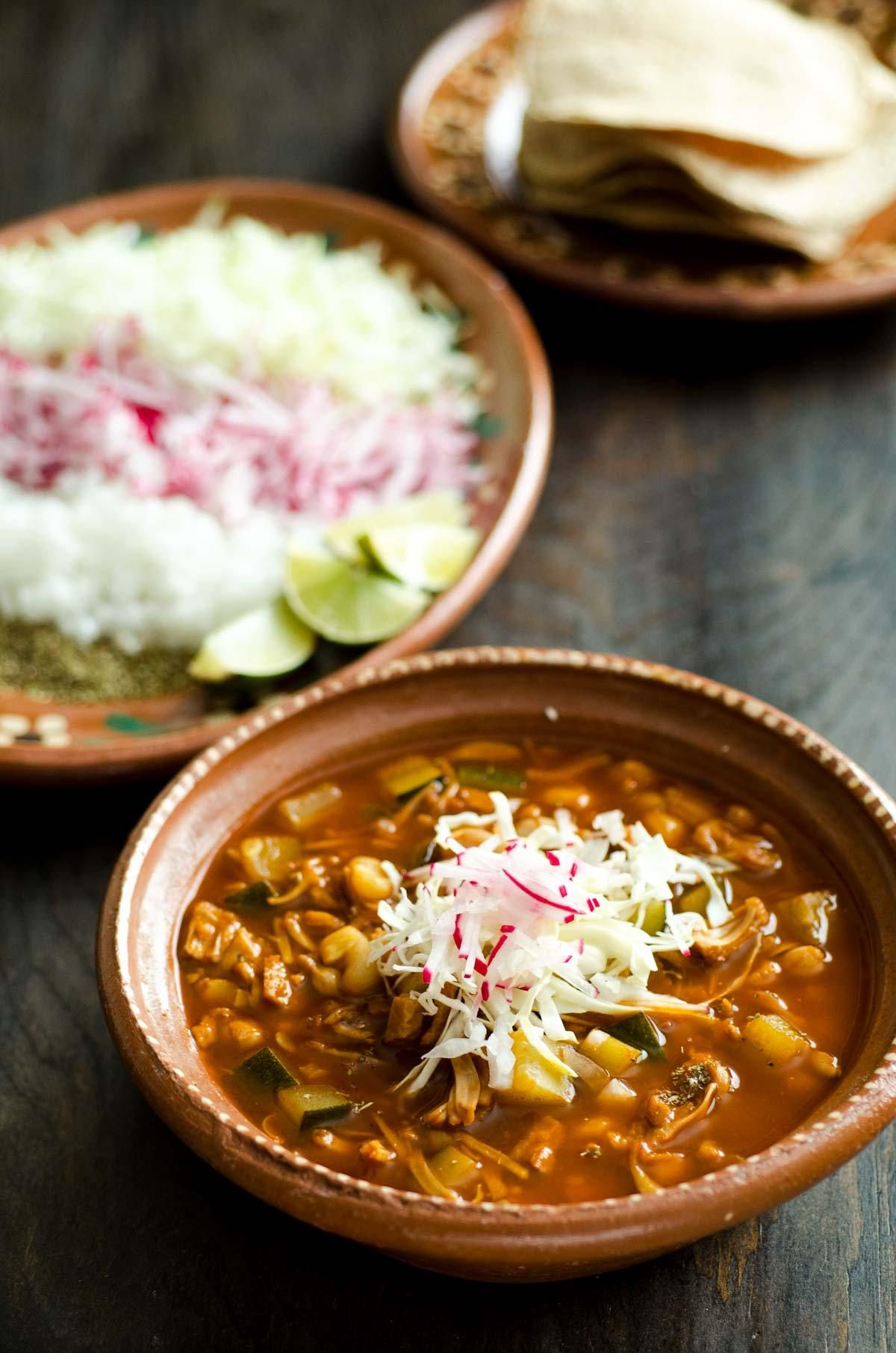 This Jackfruit Vegan Pozole Is A Hearty Spicy And Satisfying Soup It Is An Adaptation Of My G