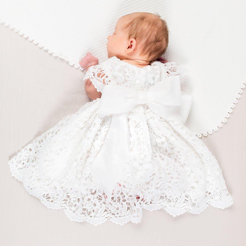 24 months Christening Gown Boho Chic White Newborn Baby Dress 3 months Newborn Lace Flower Girl Dress Baptism Infant Birthday