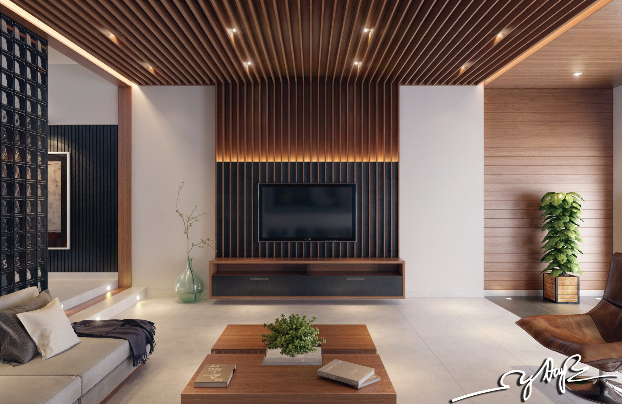 The Unique Wood Paneling Which Positions The Plans Perpendicular Prepossessing Living Room Wood Ceiling Design Decorating Inspiration