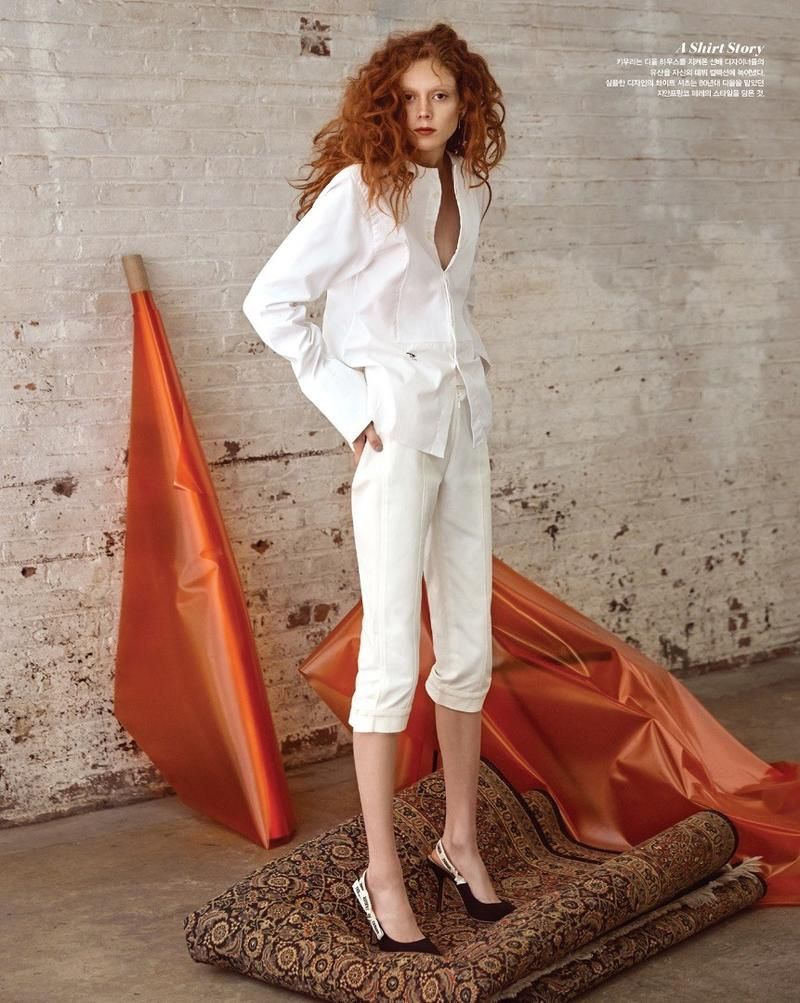 e264b216622 Natalie Westling lands the March 2017 cover of Vogue Korea. The American  model dons a t-shirt from Dior that reads   We Should All be Feminists .