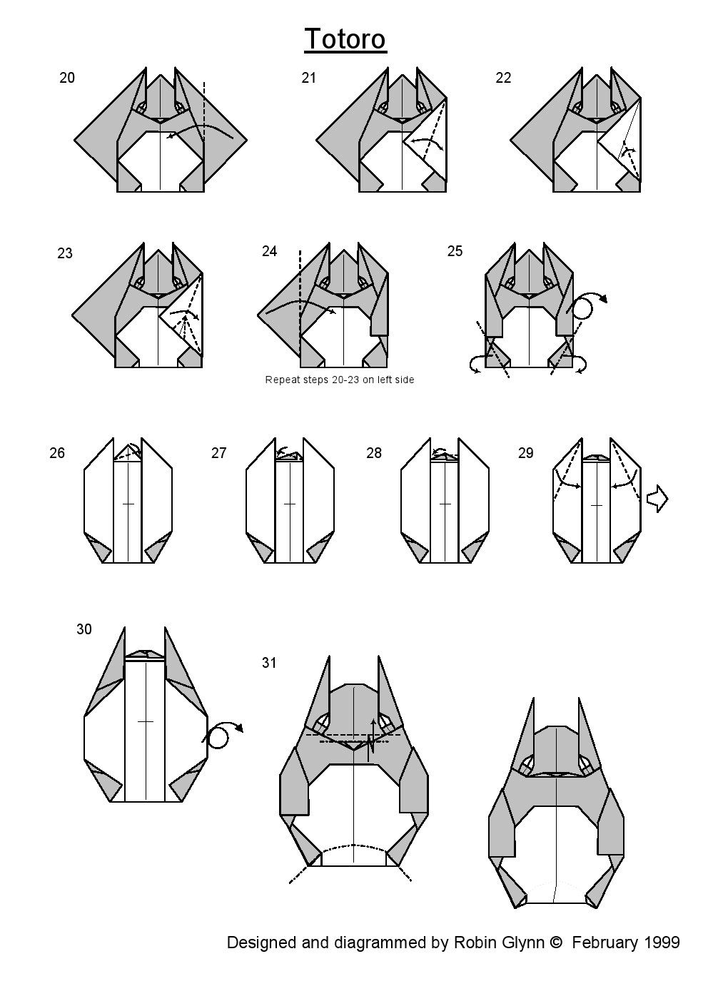 Origami Totoro 2 Instructions For More Photos Diagrams And Tutorials Of His Cool Star War