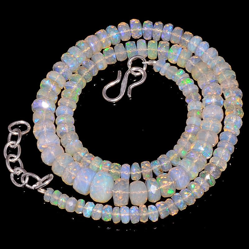 """74CRTS 4to8MM 17.5"""" ETHIOPIAN OPAL FACETED RONDELLE BEADS NECKLACE OBI1248 #OPALBEADSINDIA"""