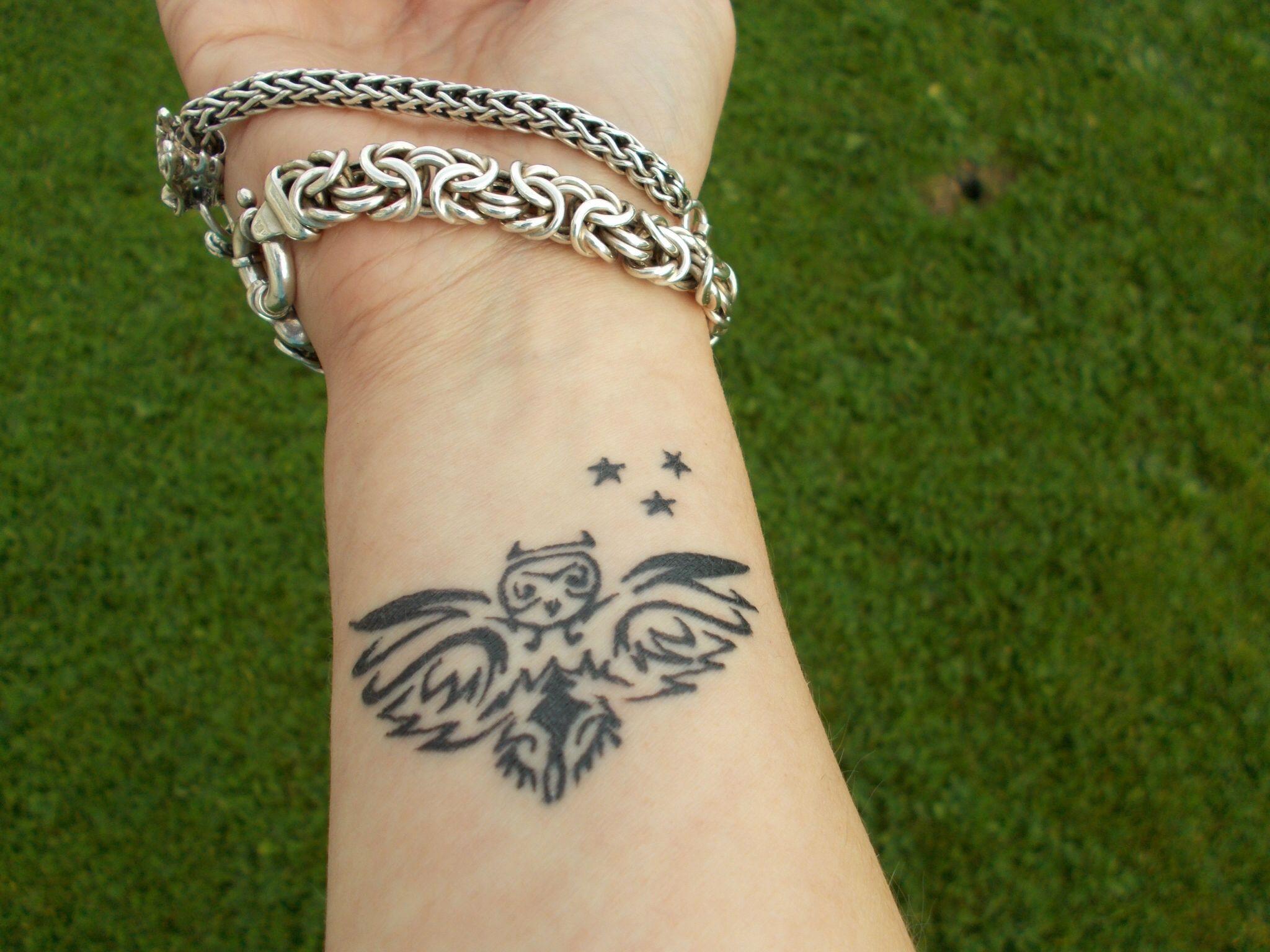 My little owl wrist tattoo ) Tattoos, Owl tattoo, Wrist