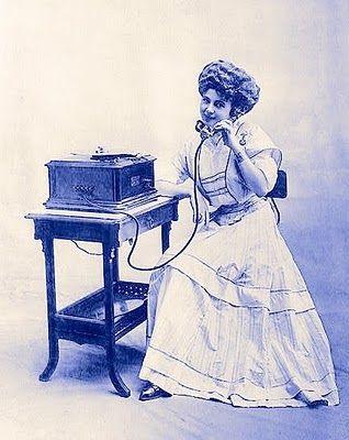 vintage clip art girl with old fashioned telephone vintage rh pinterest com