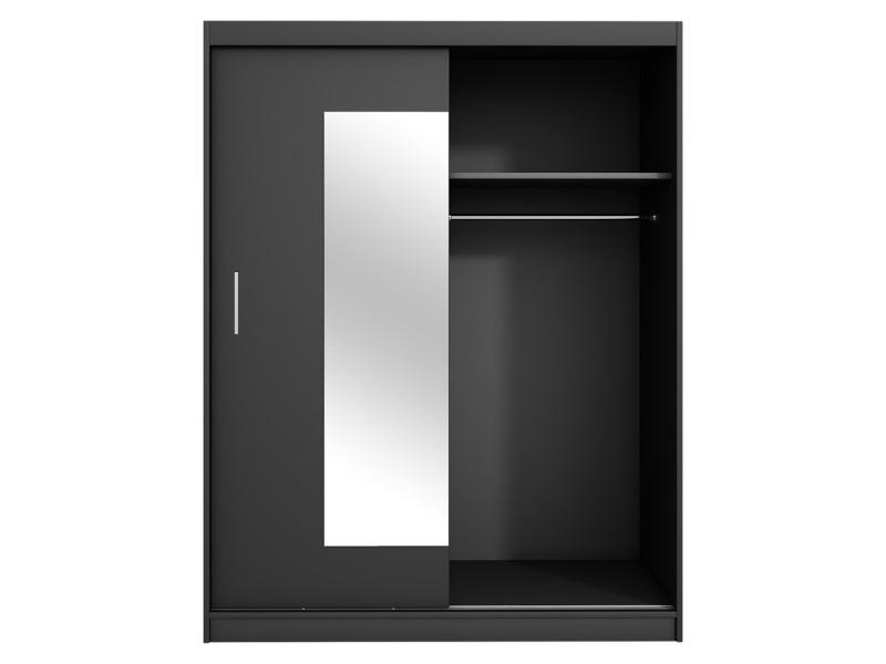 Armoire Avec Miroir Vaniva 150 Cm Noir Portes Coulissantes K53441173 Armoire Avec Miroir Porte Coulissante Armoire