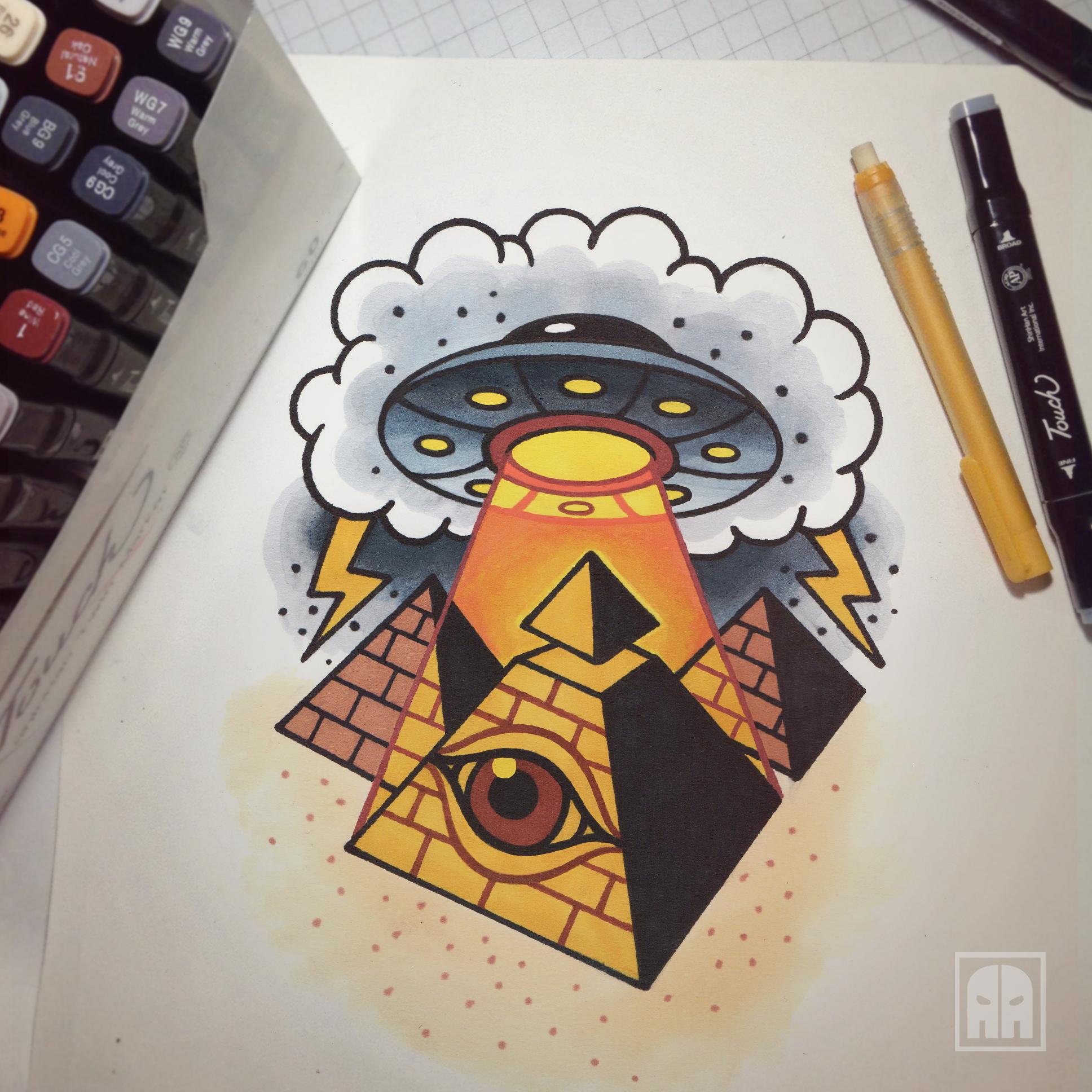 ufo #eye #pyramid #flash #tattoosketch #ageevtattoo #sketch ...