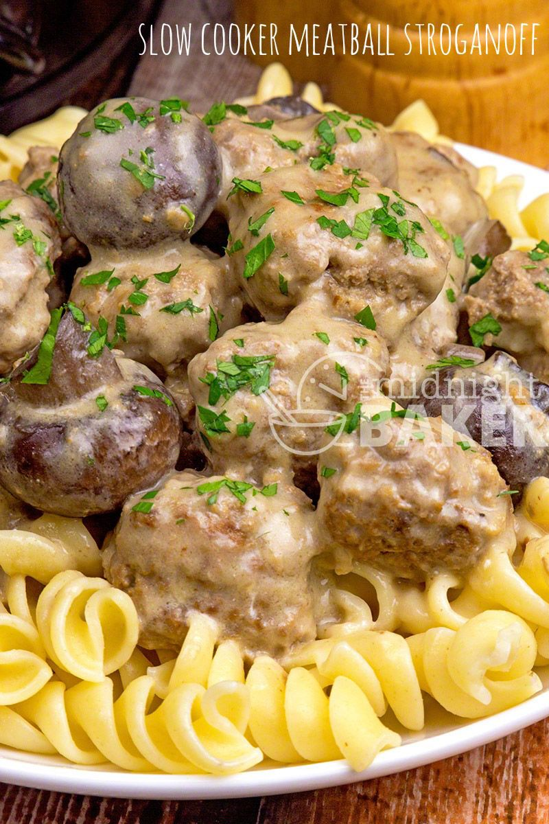 Photo of This meatball stroganoff is a quick slow cooker meal. Cooks in 3 hours. Make the…