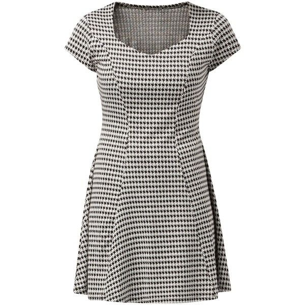 New Look Black Houndstooth Sweetheart Neck Skater Dress (£12) ❤ liked on Polyvore featuring dresses, black pattern, sweetheart neck dress, skater dress, sweetheart skater dress, sweetheart neckline skater dress and sweetheart neckline dress