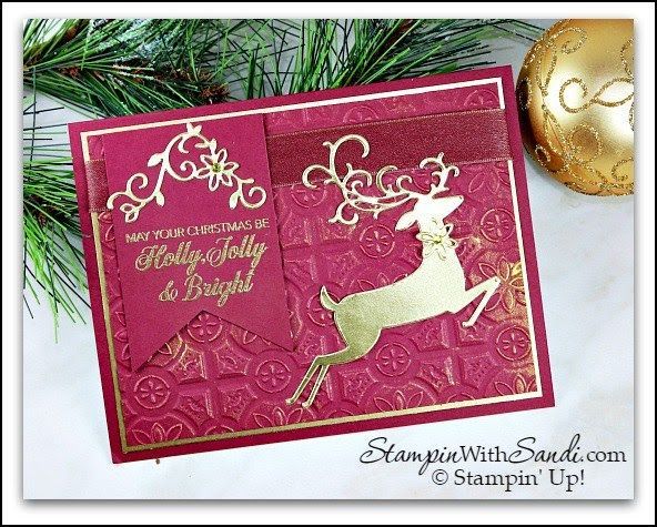 Dashing Deer in Merry Merlot by Sandi @ StampinWithSandi su