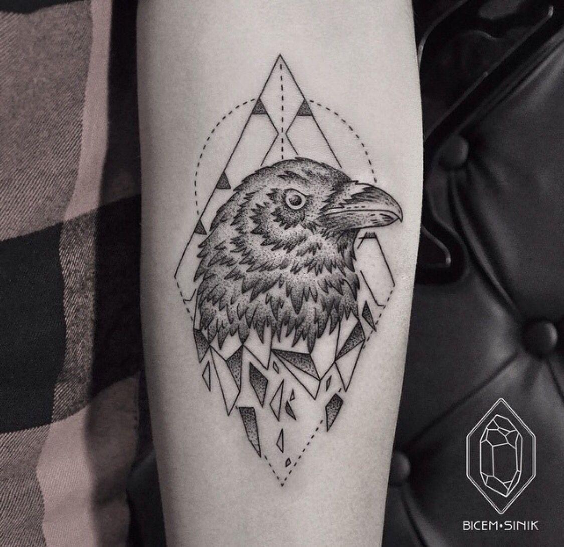 Geometric Raven Tattoo Tattoos Pinterest Ravens