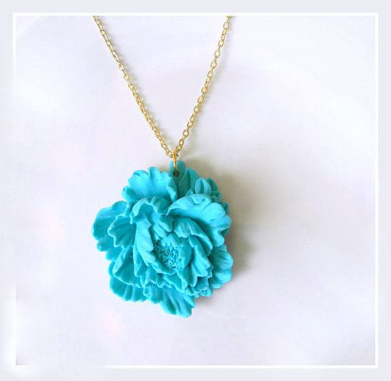 Long Peony statement necklace 14k gold filled chain by BipAndBop, $30.00