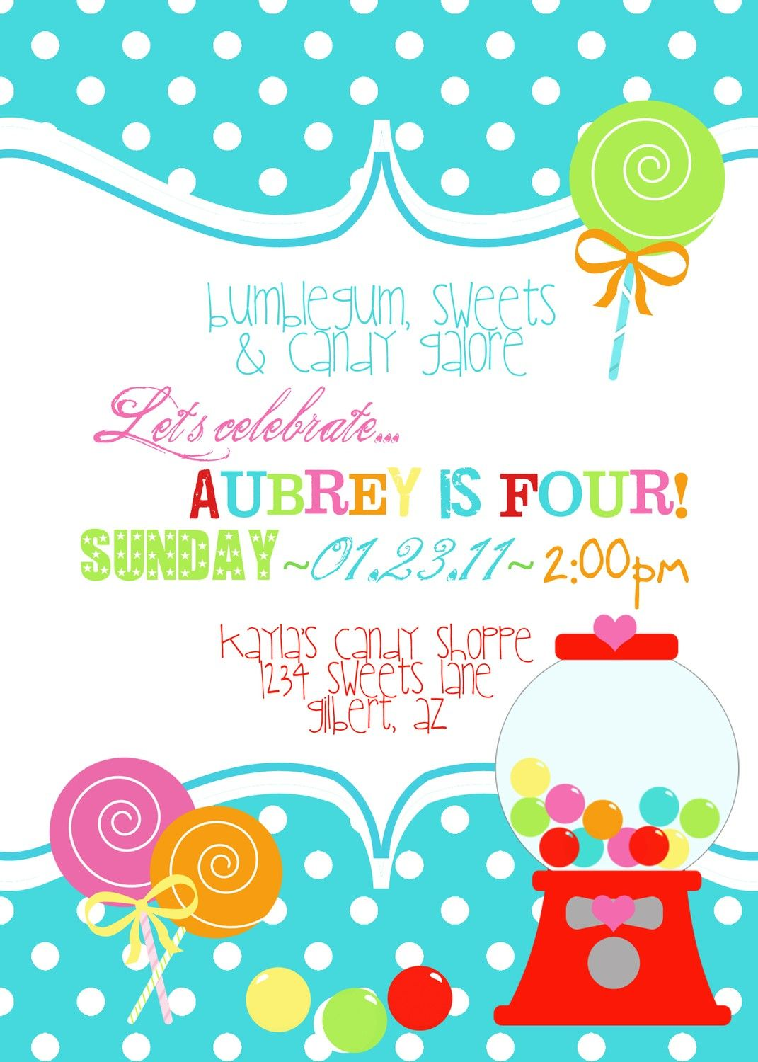 gumball candy sweets printable birthday party invitation fresh