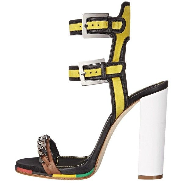DSQUARED2 Sandal (Giallo Nero Camoscio Nappa Vacchetta) High Heels ($705) ❤  liked on Polyvore featuring shoes, sandals, open toe high heel sandals, ...
