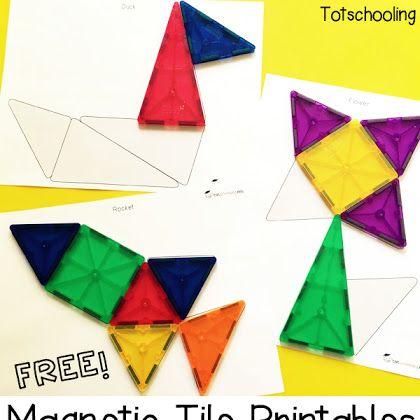 Free Magnetic Tile Printables Busy Bags Preschool