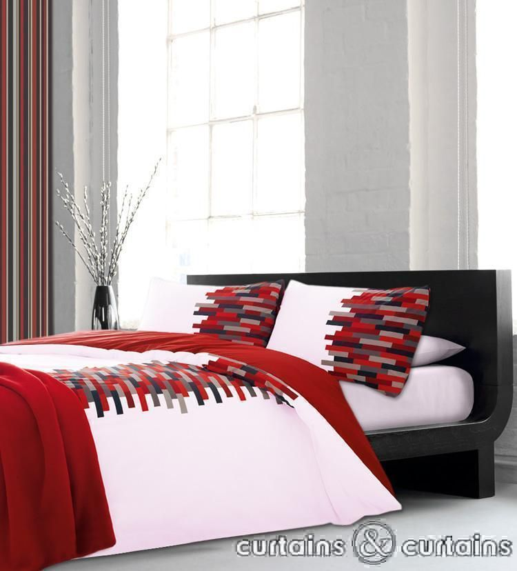 Luxury Cotton Red Black White Duvet Cover Black Duvet Cover White Duvet Covers Bedroom Decor Dark